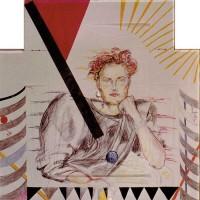 Claudia Leudesdorff-Baginski, 1985, 100x100, Farbstifte, Papier-Leder-Collage, Plexiglasrahmen
