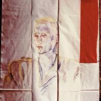 Joachim Ramin (Vorderseite), 1984, Molino, Papier, umklappbar, Pastellkreide, Farbstifte