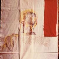 Joachim Ramin (Rückseite), 1984, Molino, Papier, umklappbar, Pastellkreide, Farbstifte