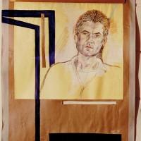 Reinhold Krieger, 1986, 110x80, Farbstift, weiß laviert, Papier-Karton-Holz-Collage