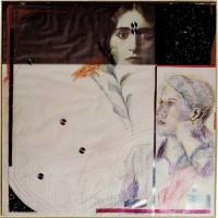 Roger Bürgel, 1985, 90x90, Farbstift, Collage