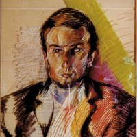 Ronald Fahm, 1987, 100x100, Ölkreide auf Plexiglas, plexi-verglast